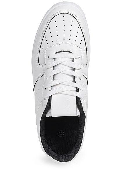 Seventyseven Lifestyle Damen Schuh Kunstleder Plateau Sneaker Sohle4cm weiss schwarz