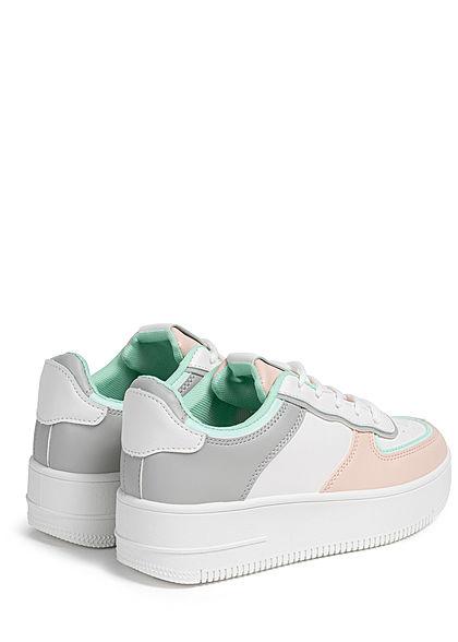 Seventyseven Lifestyle Damen Schuh Kunstleder Plateau Colorblock Sneaker weiss grau