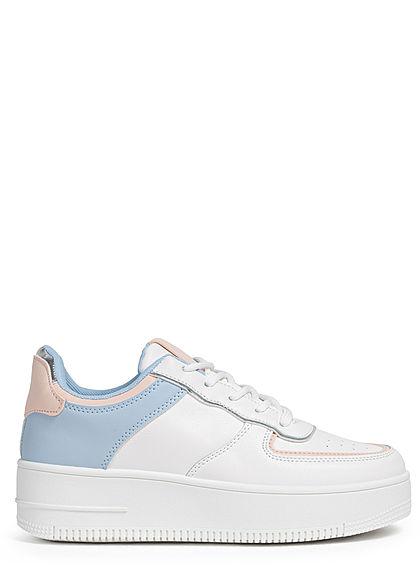 Seventyseven Lifestyle Damen Schuh Kunstleder Plateau Colorblock Sneaker weiss blau