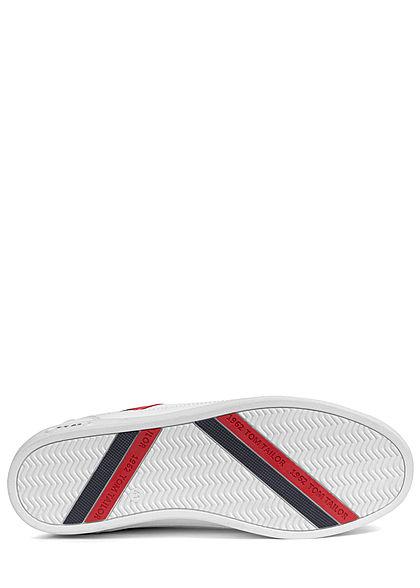 Tom Tailor Herren Schuh Kunstleder Sneaker Streifen zum schnüren weiss rot schwarz