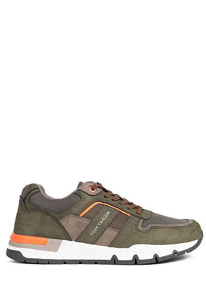 Tom Tailor Herren Schuh 2-Tone Kunstleder Sneaker Materialmix zum schnüren khaki grün orange
