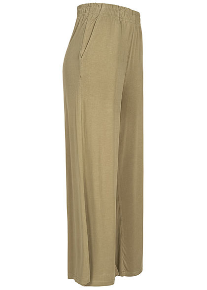Urban Classics Damen 3/4 Modal Culotte Stoffhose Gummibund khaki grün