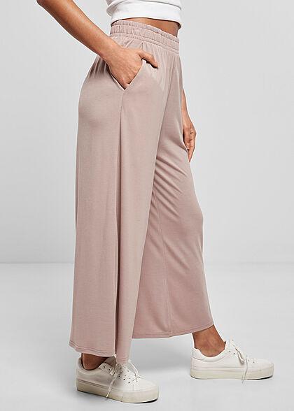 Urban Classics Damen 3/4 Modal Culotte Stoffhose Gummibund dusk rosa