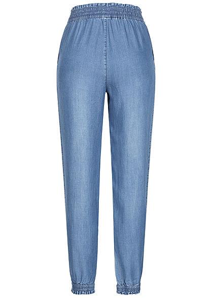 Tom Tailor Damen Lyocell Harem Stoffhose 2-Pockets elastische Raffung used stone hell blau