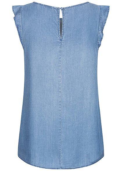 Tom Tailor Damen Lyocell Denim Blusen Top mit Flügelärmeln U-Boot Ausschnitt blau denim