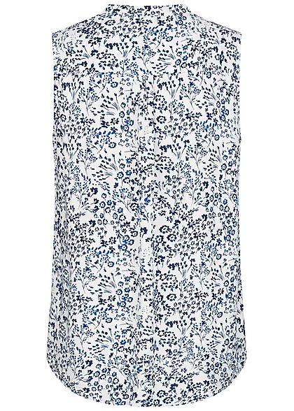 Tom Tailor Damen Viskose Blusen Top Blumen Muster Henleyausschnitt off weiss