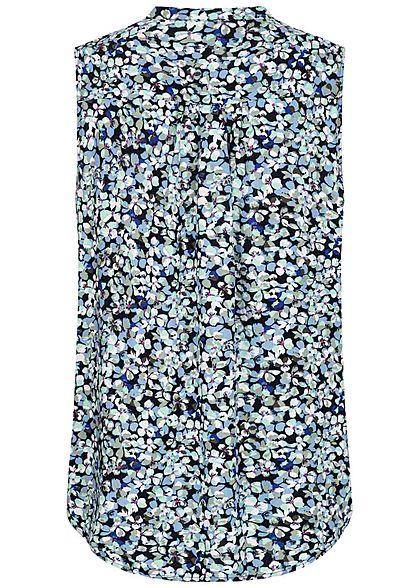 Tom Tailor Damen Viskose Blusen Top Blumen Muster Henleyausschnitt navy blau
