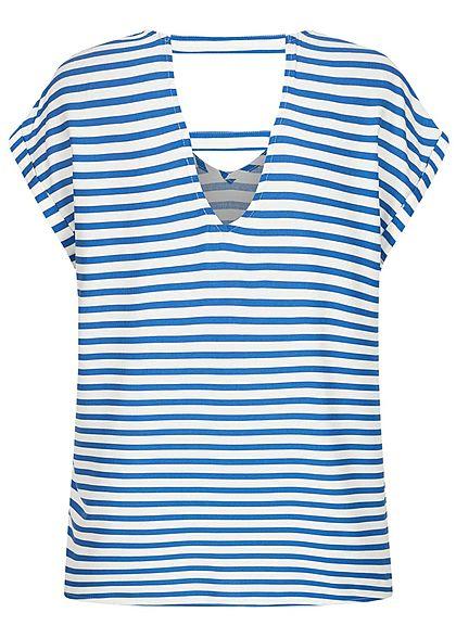 Tom Tailor Damen V-Neck Viskose Blusen Shirt Streifen Muster mid blau weiss