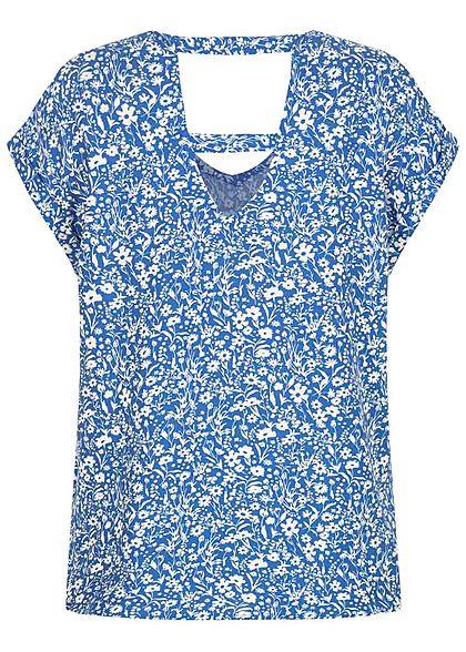 Tom Tailor Damen V-Neck Viskose Blusen Shirt Blumen Muster mid blau weiss