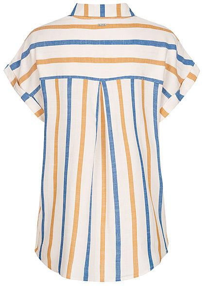 Tom Tailor Damen Viskose Struktur Bluse Streifen Muster Knopfleiste creme gelb blau