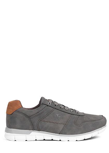 Tom Tailor Herren Schuh 3-Tone Kunstleder Sneaker grau braun weiss
