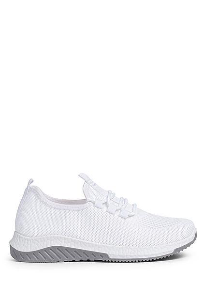 Seventyseven Lifestyle Damen Schuh 2-Tone Running Sneaker zum schnüren weiss grau