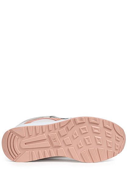Seventyseven Lifestyle Damen Schuh Sneaker Materialmix mit Love Applikattion rosa beige