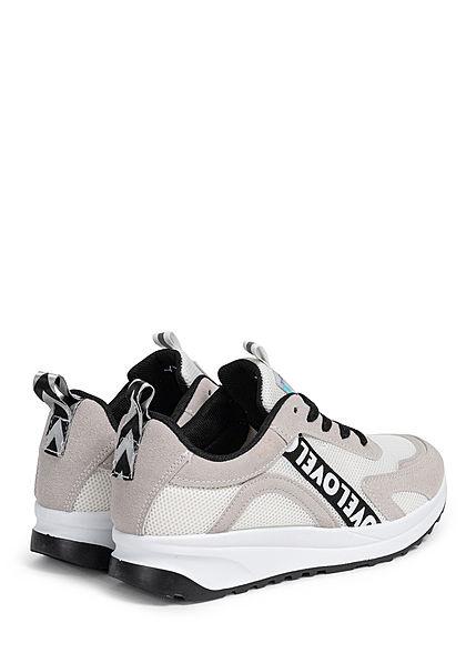 Seventyseven Lifestyle Damen Schuh Sneaker Materialmix mit Love Applikattion weiss grau