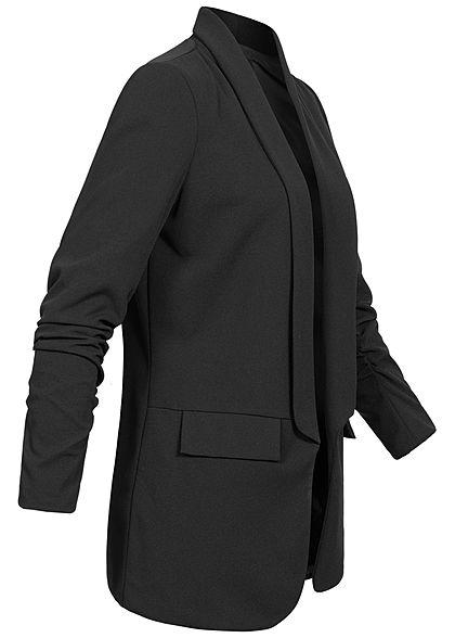 Styleboom Fashion Damen 3/4 Arm Longform Blazer 2 Deko Taschen schwarz