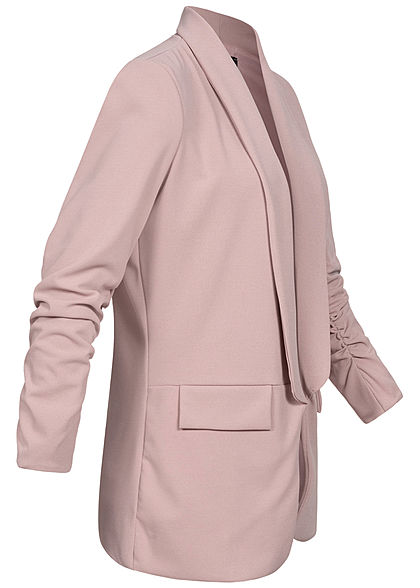 Styleboom Fashion Damen 3/4 Arm Longform Blazer 2 Deko Taschen old rose