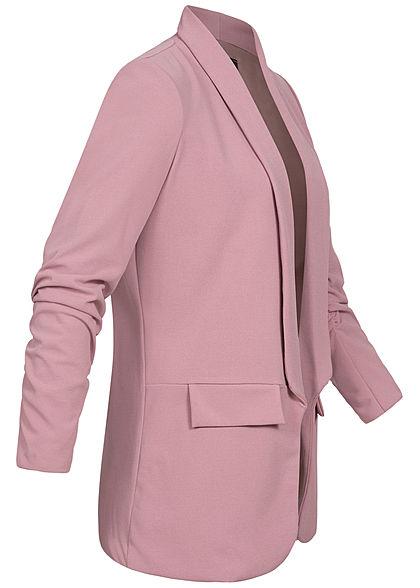 Styleboom Fashion Damen 3/4 Arm Longform Blazer 2 Deko Taschen mauve lila
