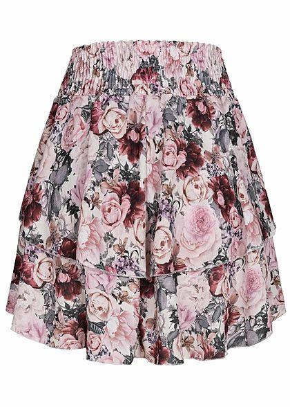 Styleboom Fashion Damen Mini Stufenrock Rosen Muster 2-lagig weiss multicolor