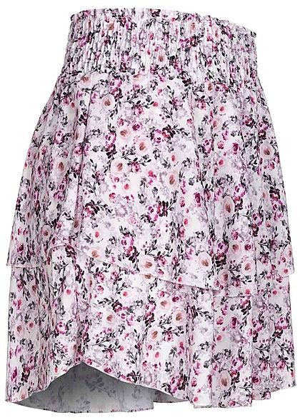 Styleboom Fashion Damen Mini Stufenrock Blumen Muster 2-lagig weiss multicolor