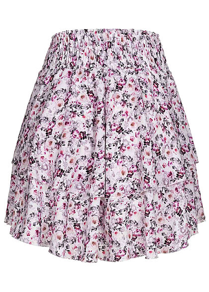 Styleboom Fashion Damen Mini Stufenrock Blumen Muster 2-lagig weiss multicolor