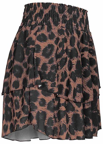 Styleboom Fashion Damen Mini Stufenrock Animal Leo Print 2-lagig braun schwarz