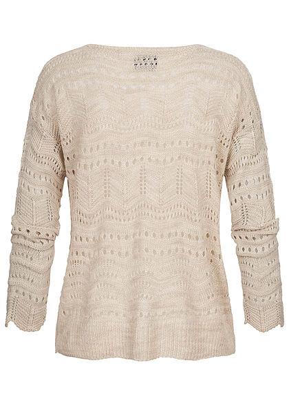 Styleboom Fashion Damen kurzer Grobstrick Cardigan Lochmuster beige