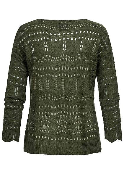 Styleboom Fashion Damen kurzer Grobstrick Cardigan Lochmuster khaki grün
