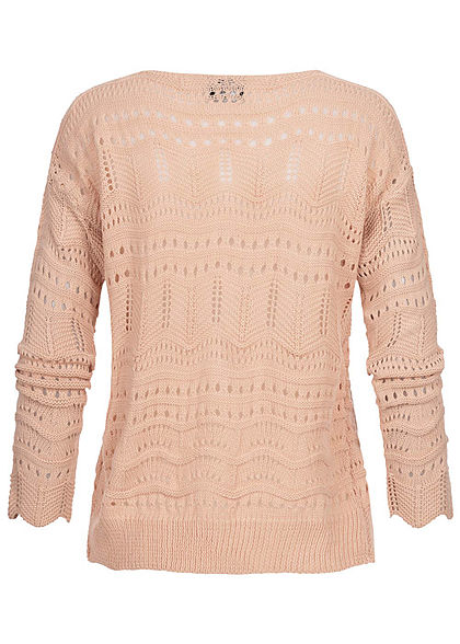 Styleboom Fashion Damen kurzer Grobstrick Cardigan Lochmuster burlwood pink
