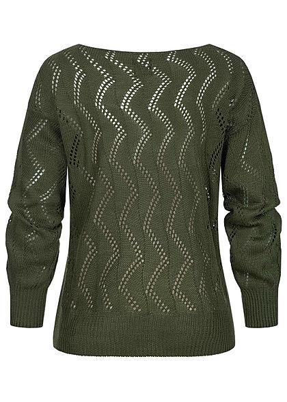 Styleboom Fashion Damen Strickpullover mit Zick Zack Lochmuster khaki grün