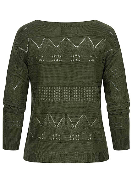 Styleboom Fashion Damen U-Boot Strickpullover mit Lochmuster khaki grün