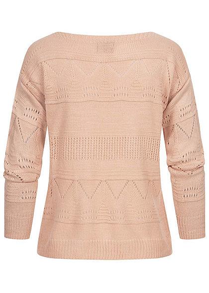 Styleboom Fashion Damen U-Boot Strickpullover mit Lochmuster burlwood pink