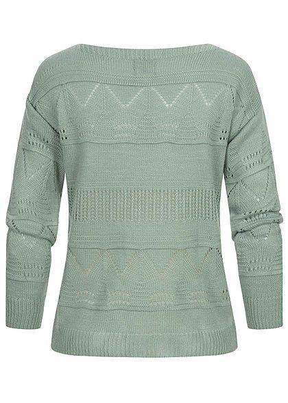 Styleboom Fashion Damen U-Boot Strickpullover mit Lochmuster jade grün