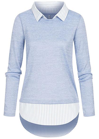 Seventyseven Lifestyle Damen 2in1 Turn-Up Longsleeve Bluse hell blau