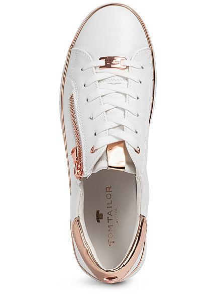 Tom Tailor Damen Schuh Kunstleder Sneaker Zipper weiss