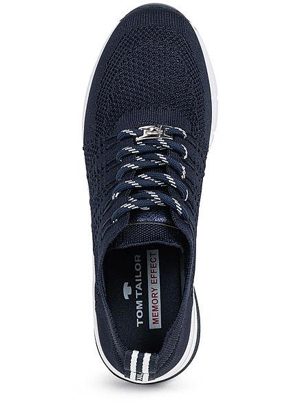 Tom Tailor Damen Schuh Mesh Sneaker zum schnüren mit Glitzerdetail navy blau