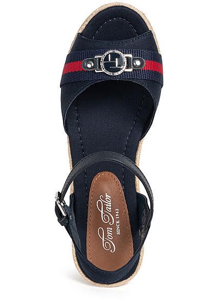 Tom Tailor Damen Schuh Sandalette Keilabsatz navy blau