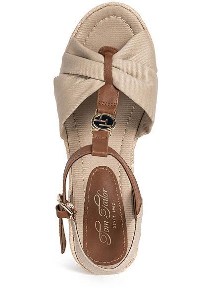 Tom Tailor Damen Schuh Sandalette Keilabsatz beige
