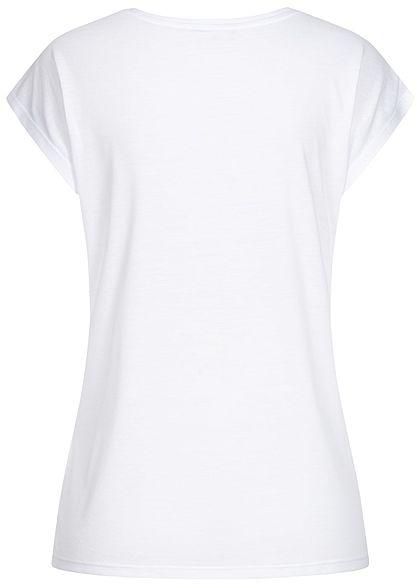 Hailys Damen T-Shirt Forever Print Pailletten Glitzer weiss kupfer
