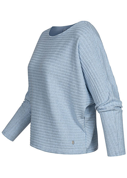 Hailys Damen Ribbed U-Boot Longsleeve Pullover marl hell blau