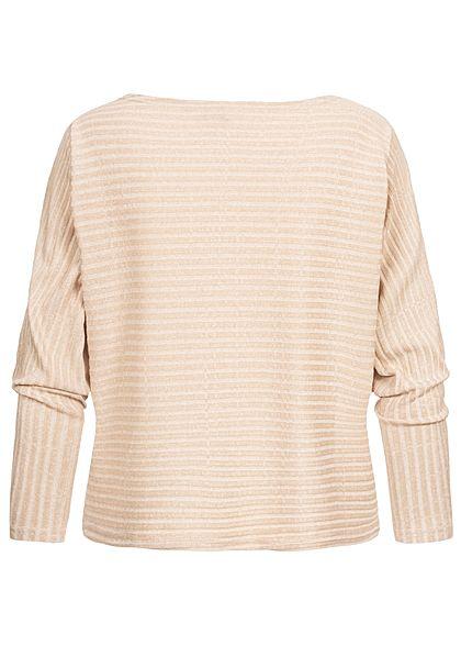 Hailys Damen Ribbed U-Boot Longsleeve Pullover beige marl