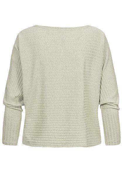 Hailys Damen Ribbed U-Boot Longsleeve Pullover marl soft grün