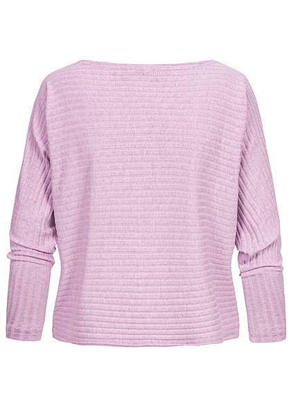 Hailys Damen Ribbed U-Boot Longsleeve Pullover marl lavender lila