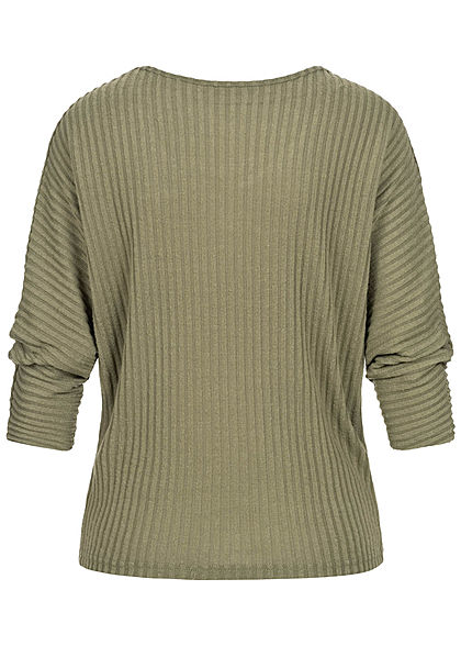 Hailys Damen Ribbed V-Neck 3/4 Longsleeve Pullover marl khaki grün
