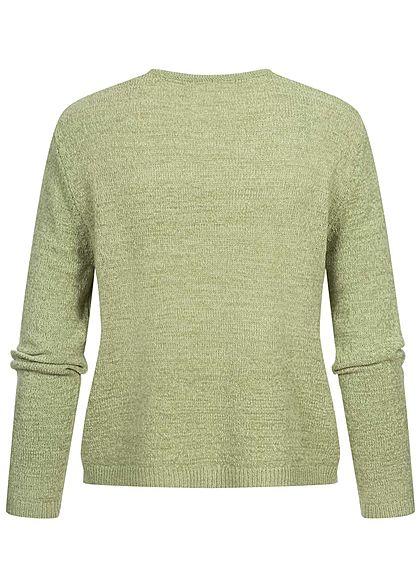 Hailys Damen V-Neck Longsleeve Pullover Strukturstoff soft grün