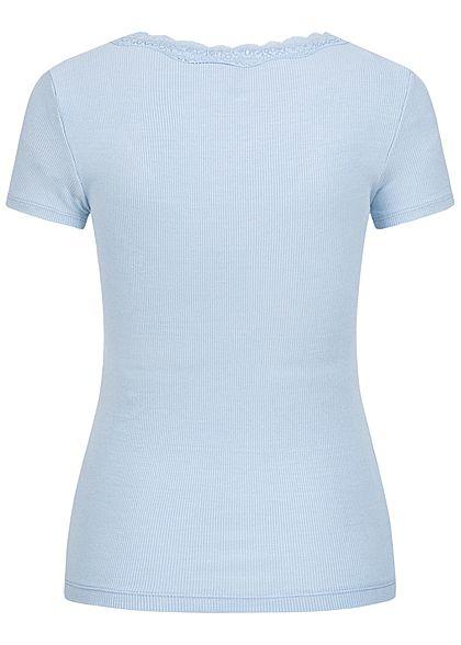 Hailys Damen Ribbed V-Neck T-Shirt mit Spitzendetail hell blau