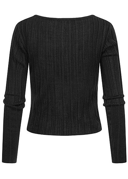 Hailys Damen kurzer Ribbed Longsleeve Pullover schwarz