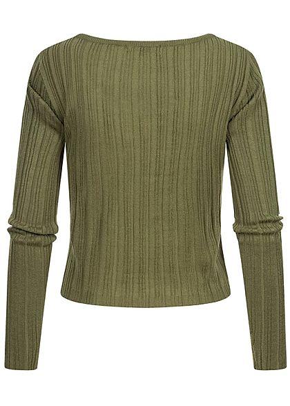 Hailys Damen kurzer Ribbed Longsleeve Pullover khaki grün
