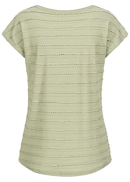 Hailys Damen T-Shirt mit Lurex Glitzerstreifen soft grün