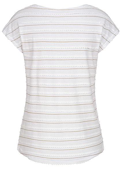 Hailys Damen T-Shirt mit Lurex Glitzerstreifen off weiss