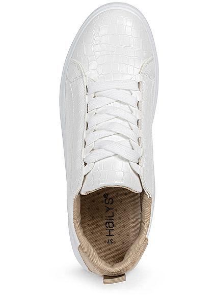 Hailys Damen Schuh Kunstleder Sneaker 2-Tone Velours Optik weiss beige